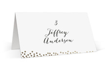 This is a black and white wedding place card by Up Up Creative called Fusion with foil-pressed printing on signature in placecard.