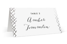This is a white wedding place card by Oma N. Ramkhelawan called Gilded Crosshatch with foil-pressed printing on signature in placecard.