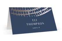 This is a blue wedding place card by AK Graphics called Prism with foil-pressed printing on signature in placecard.