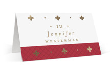 This is a brown wedding place card by Susan Brown called Venice with foil-pressed printing on signature in placecard.