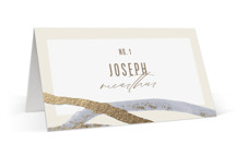 This is a blue wedding place card by Pixel and Hank called Expressive with foil-pressed printing on signature in placecard.