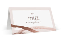 This is a pink wedding place card by Pixel and Hank called Expressive with foil-pressed printing on signature in placecard.