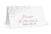 This is a purple wedding place card by Melissa Egan of Pistols called Dipped Feathers with foil-pressed printing on signature in placecard.