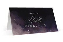 This is a pink wedding place card by Snow and Ivy called atmospheric with foil-pressed printing on signature in placecard.