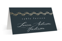 This is a black wedding place card by Ana de Sousa called For Eternity with foil-pressed printing on signature in placecard.