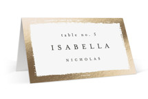 This is a white wedding place card by Kelly Schmidt called Painted Frame with foil-pressed printing on signature in placecard.