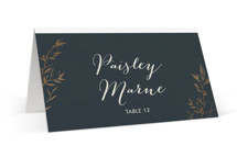 This is a grey wedding place card by Carolyn Nicks called Intertwined with foil-pressed printing on signature in placecard.
