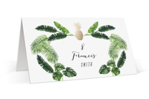 This is a green wedding place card by Elly called Tropical with foil-pressed printing on signature in placecard.