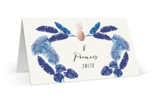 This is a blue wedding place card by Elly called Tropical with foil-pressed printing on signature in placecard.