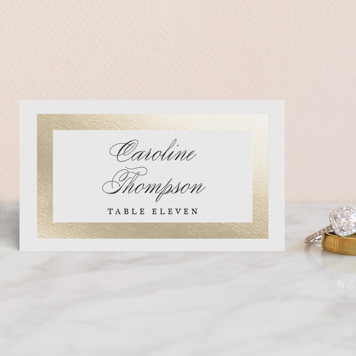 """Deluxe"" - Foil-pressed Place Cards in Tuxedo by Jennifer Postorino."