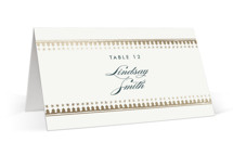 This is a beige wedding place card by Carolyn Nicks called trinkets with foil-pressed printing on signature in placecard.