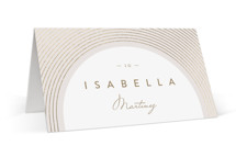 This is a beige wedding place card by Leah Bisch called Bloom with foil-pressed printing on signature in placecard.