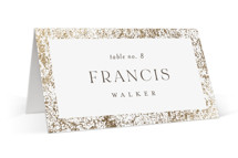 This is a brown wedding place card by Pixel and Hank called Inlay with foil-pressed printing on signature in placecard.