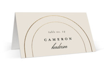 This is a beige wedding place card by Brianne Larsen called Full Circle with foil-pressed printing on signature in placecard.