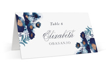 This is a blue wedding place card by Olivia Raufman called Splendid Ink with foil-pressed printing on signature in placecard.