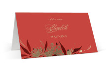 This is a red wedding place card by Shannon Chen called Happiness with foil-pressed printing on signature in placecard.