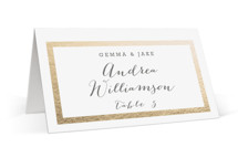 This is a gold wedding place card by Hooray Creative called Modern Photo Frame with foil-pressed printing on signature in placecard.
