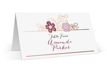 This is a white wedding place card by Alethea and Ruth called Country Florals with foil-pressed printing on signature in placecard.