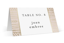 This is a pink wedding place card by Melanie Kosuge called ALEXA with foil-pressed printing on signature in placecard.