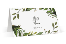 This is a green wedding place card by Susan Moyal called Vines of Green with foil-pressed printing on signature in placecard.