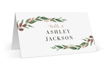 This is a green wedding place card by Robin Ott called Shade Garden with foil-pressed printing on signature in placecard.