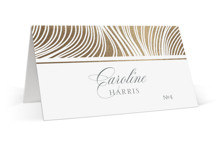 This is a brown wedding place card by Erin Deegan called Lined with foil-pressed printing on signature in placecard.