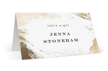 This is a gold wedding place card by Kimberly FitzSimons called Edgy Charm with foil-pressed printing on signature in placecard.