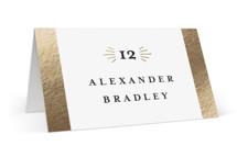 This is a gold wedding place card by Genna Blackburn called Spruce with foil-pressed printing on signature in placecard.