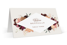 This is a brown wedding place card by Leah Bisch called harvest with foil-pressed printing on signature in placecard.
