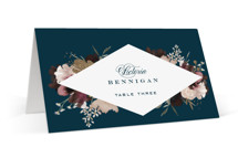 This is a blue wedding place card by Leah Bisch called harvest with foil-pressed printing on signature in placecard.