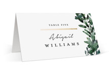 This is a white wedding place card by Lissabeth Anglin called Gilded Eucalyptus with foil-pressed printing on signature in placecard.