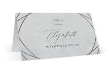 This is a grey wedding place card by fatfatin called Mirror, Mirror with foil-pressed printing on signature in placecard.