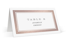 This is a white wedding place card by Design Lotus called Intricate with foil-pressed printing on signature in placecard.