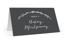 This is a grey wedding place card by carly reed walker called Mulberry with gloss-press printing on signature in placecard.