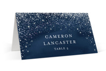 This is a blue wedding place card by Hooray Creative called Sparkling Night Sky with gloss-press printing on signature in placecard.