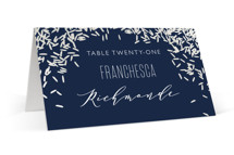 This is a blue wedding place card by Holly Whitcomb called Rice Toss with gloss-press printing on signature in placecard.