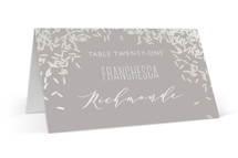 This is a grey wedding place card by Holly Whitcomb called Rice Toss with gloss-press printing on signature in placecard.