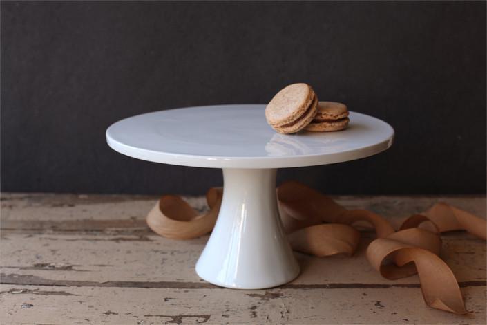 & Large Modern White Cake Plates