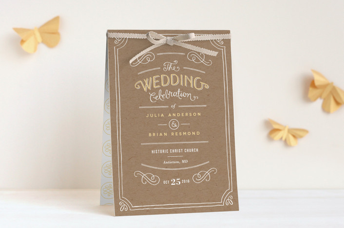 """Hand Delivered"" - Rustic Unique Wedding Programs in Kraft by Jennifer Wick."