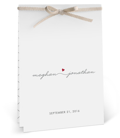 This is a portrait modern, simple, simple and minimalist, whimsical, red Wedding Programs by Kim Dietrich Elam called Love Connection with Standard printing on Signature in DIY fold over (blank inside) format. Share the details of your wedding ceremony with ...