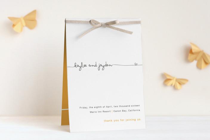 """The Happy Couple"" - Simple, Bold typographic Unique Wedding Programs in Tangerine by R studio."