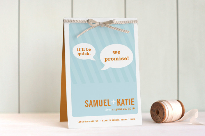 """Smart Conversation"" - Bold typographic Unique Wedding Programs in Pool Blue by pottsdesign."