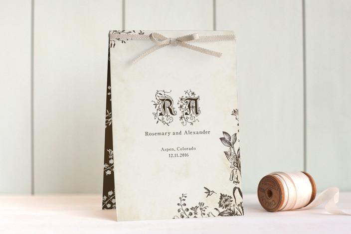 """Story Book"" - Rustic, Vintage Unique Wedding Programs in Winter Cream by Jody Wody."