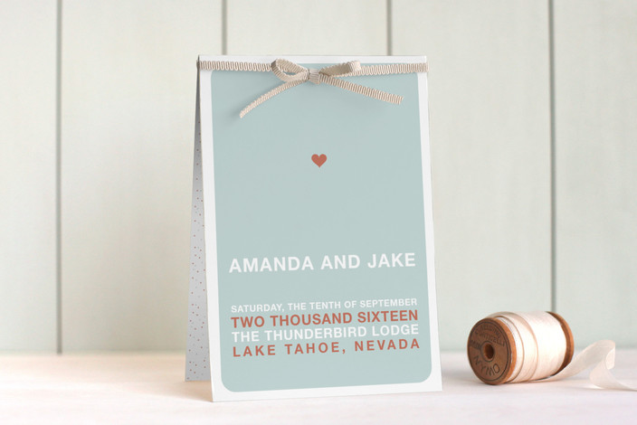 """""""just married"""" - Modern, Simple Unique Wedding Programs in Light Teal by Three Kisses Studio."""