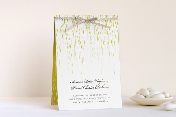 """Goldshine"" - Rustic, Simple Unique Wedding Programs in Lemon Zest by Lisa Samartino Design."