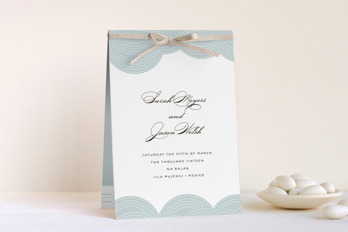 """""""Pearls on a String"""" - Classical, Elegant Unique Wedding Programs in Blue Cloud by annie clark."""