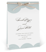 This is a blue unique wedding program by annie clark called Pearls on a String with standard printing on signature in diy.