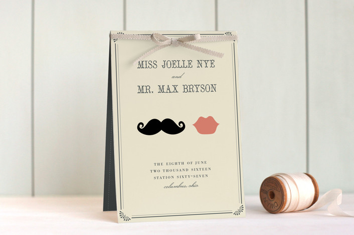 """""""Stache + Kiss"""" - Modern, Vintage Unique Wedding Programs in Creme by Penelope Poppy."""