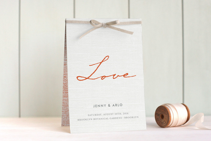"""Simply in Love"" - Modern, Bold typographic Unique Wedding Programs in Orange Zest by j.bartyn."