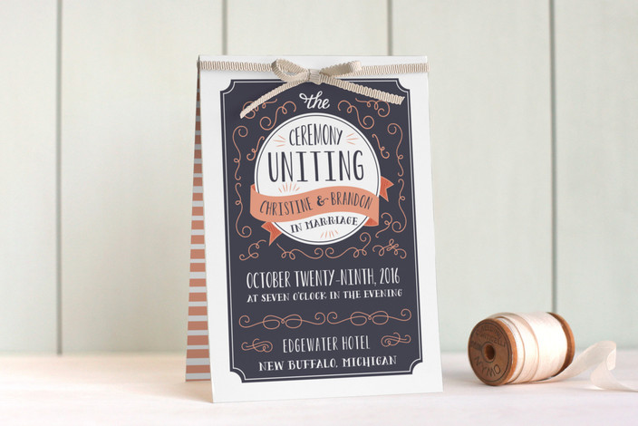 """""""Serendipity"""" - Rustic Unique Wedding Programs in Midnight by Sarah Brown."""